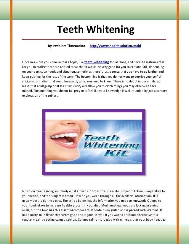Teeth Whitening_____________________________________________________________________________________                   By ...
