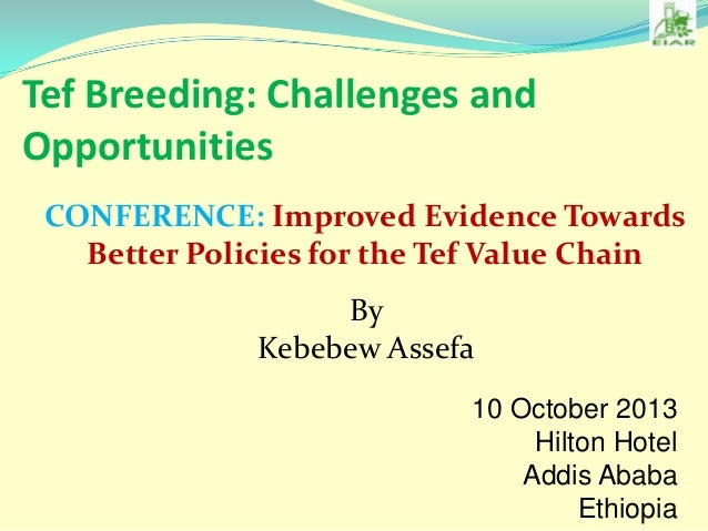 Tef Breeding: Challenges and Opportunities CONFERENCE: Improved Evidence Towards Better Policies for the Tef Value Chain B...