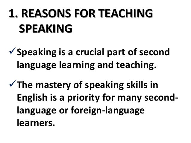 the principles of teaching speaking