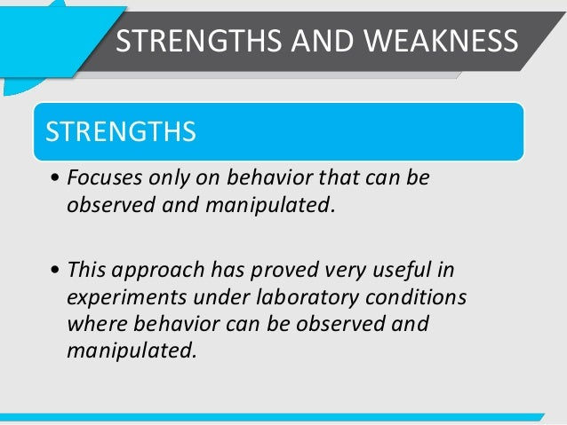 the strengths and weaknesses of behaviorism Home a level and ib psychology strengths and weaknesses of behavioural approach biological approach - strengths & weaknesses 30 / 5 strengths and weaknesses of the behaviourist approach 30 / 5 psychology g542 core studies and approaches.