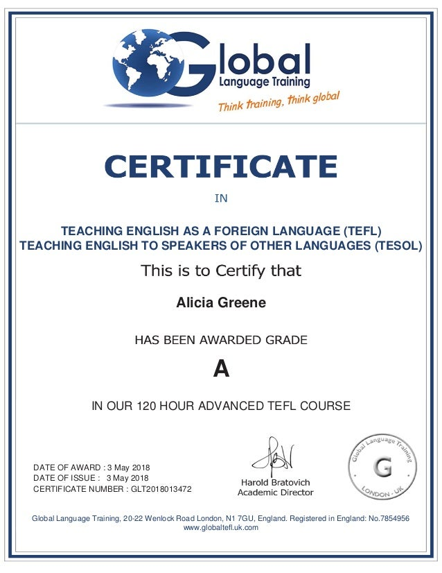 TEACHING ENGLISH AS A FOREIGN LANGUAGE (TEFL) TEACHING ENGLISH TO SPEAKERS OF OTHER LANGUAGES (TESOL) Alicia Greene A IN O...