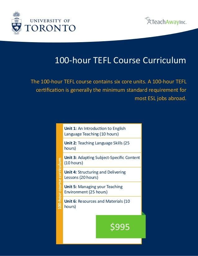 University of Toronto Tefl online brochure - 150 hours
