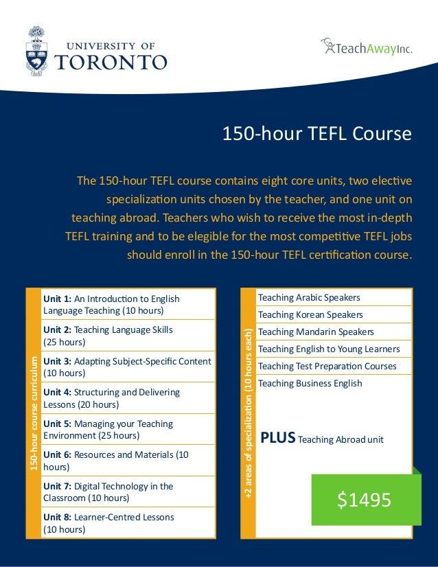 University of Toronto Tefl online brochure - 150 hours