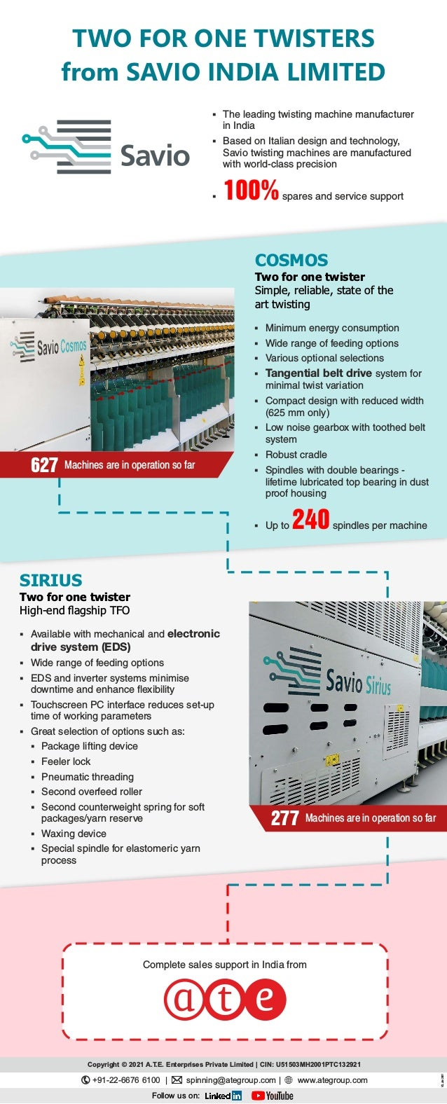627 Machines are in operation so far 277 Machines are in operation so far TWO FOR ONE TWISTERS from SAVIO INDIA LIMITED § ...