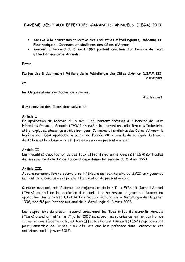 BAREME DES TAUX EFFECTIFS GARANTIS ANNUELS (TEGA) 2017  Annexe à la convention collective des Industries Métallurgiques, ...