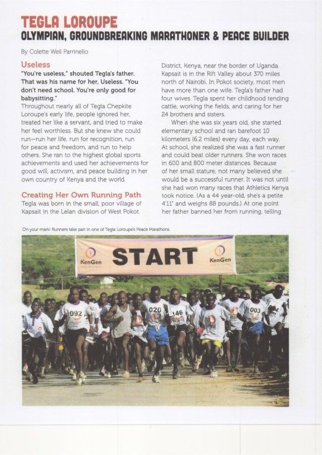 Tegla Loroupe — Olympian, Groundbreaking Marathoner and Peace Builder by Colette Weil Parrinello, Faces Magazine April 201...