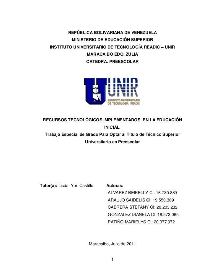 REPÚBLICA BOLIVARIANA DE VENEZUELA<br />MINISTERIO DE EDUCACIÓN SUPERIOR<br />INSTITUTO UNIVERSITARIO DE TECNOLOGÍA READIC...