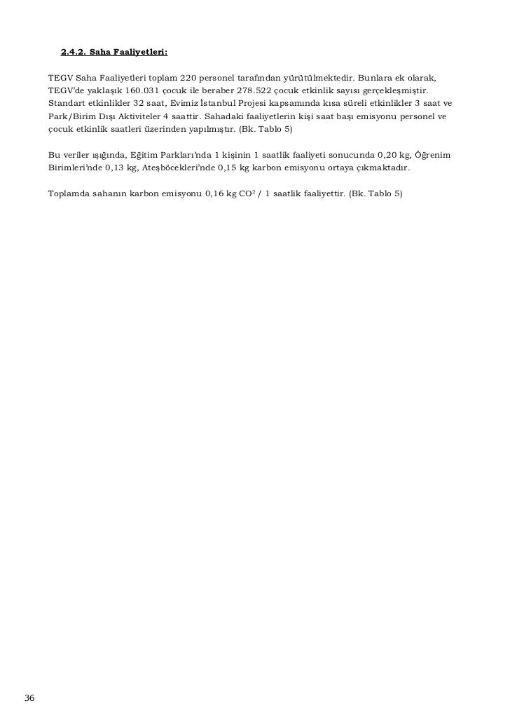 Tablo 1                                       TEGV Karbon Emisyon                    Tüketim Kalemi       Tüketim Miktarı ...