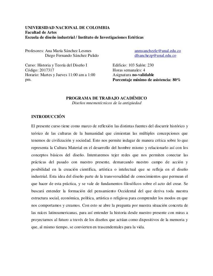 UNIVERSIDAD NACIONAL DE COLOMBIAFacultad de ArtesEscuela de diseño industrial / Instituto de Investigaciones EstéticasProf...