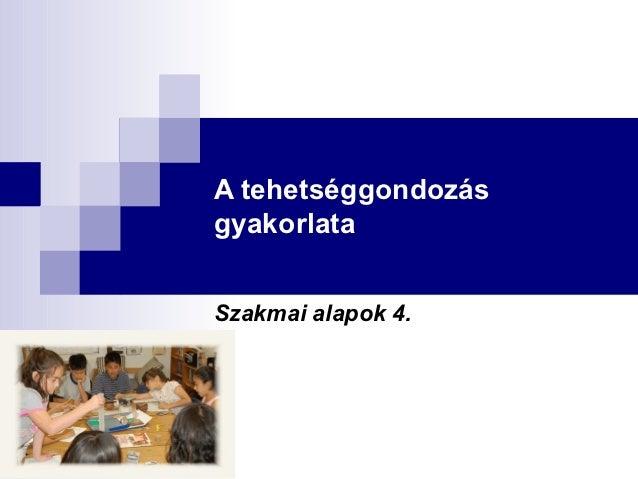 A tehetséggondozásgyakorlataSzakmai alapok 4.