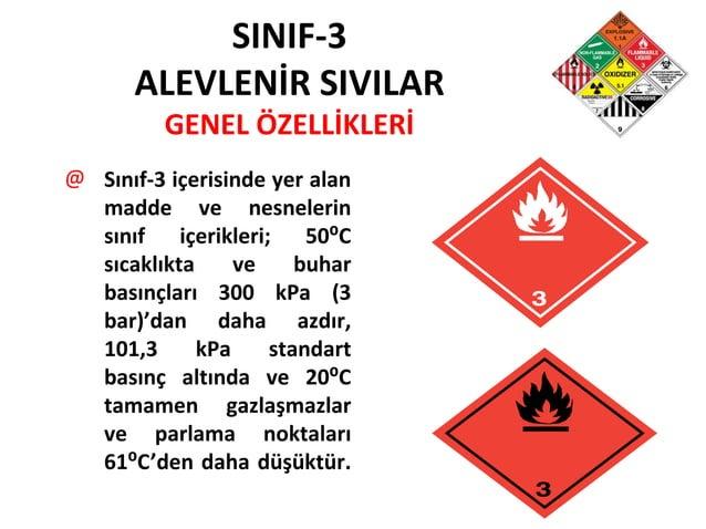 SINIF-3 ALEVLENİR SIVILAR GENEL ÖZELLİKLERİ @ Sınıf-3 içerisinde yer alan madde ve nesnelerin sınıf içerikleri; 50⁰C sıcak...