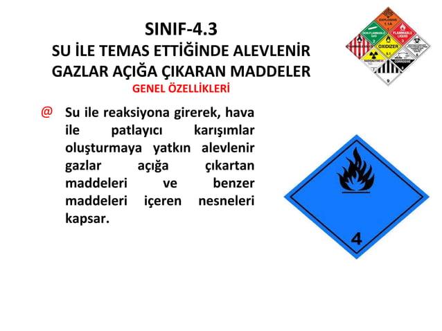 SINIF-4.3 SU İLE TEMAS ETTİĞİNDE ALEVLENİR GAZLAR AÇIĞA ÇIKARAN MADDELER GENEL ÖZELLİKLERİ @ Su ile reaksiyona girerek, ha...