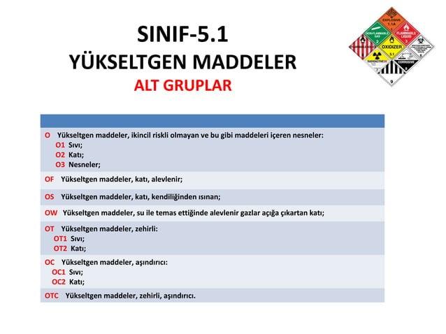 SINIF-5.1 YÜKSELTGEN MADDELER ALT GRUPLAR O Yükseltgen maddeler, ikincil riskli olmayan ve bu gibi maddeleri içeren nesnel...