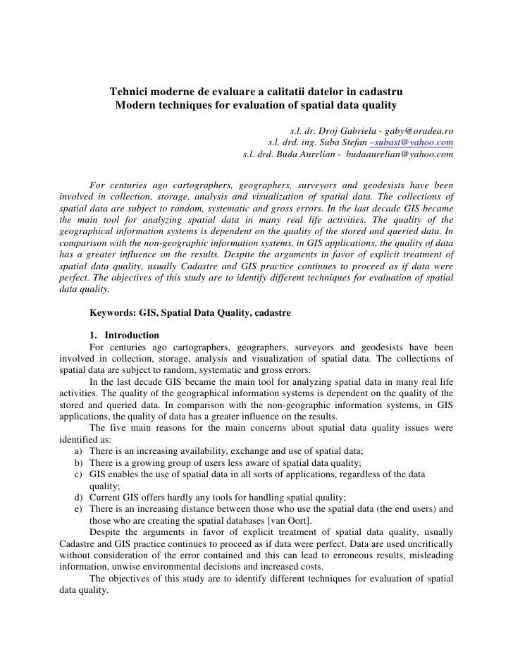 Tehnici moderne de evaluare a calitatii datelor in cadastru              Modern techniques for evaluation of spatial data ...