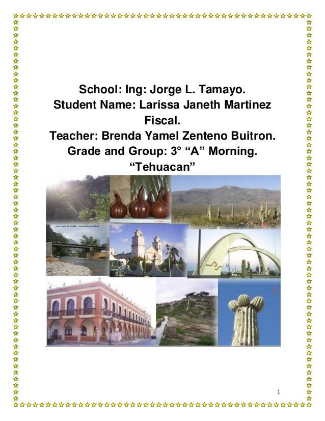 School: Ing: Jorge L. Tamayo. Student Name: Larissa Janeth Martinez                Fiscal.Teacher: Brenda Yamel Zenteno Bu...