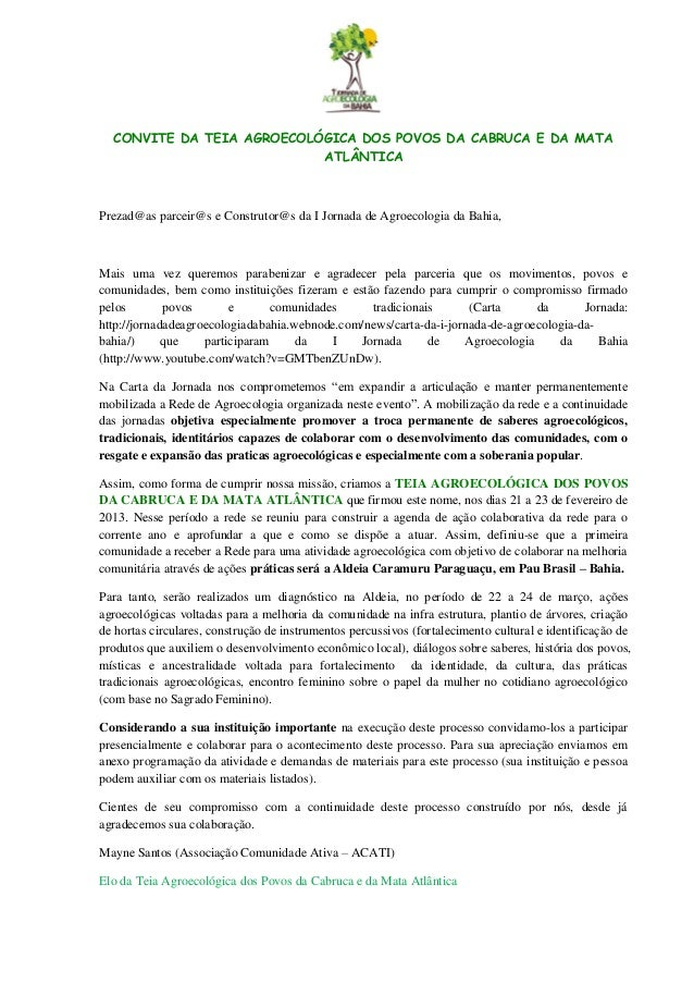CONVITE DA TEIA AGROECOLÓGICA DOS POVOS DA CABRUCA E DA MATA                           ATLÂNTICAPrezad@as parceir@s e Cons...