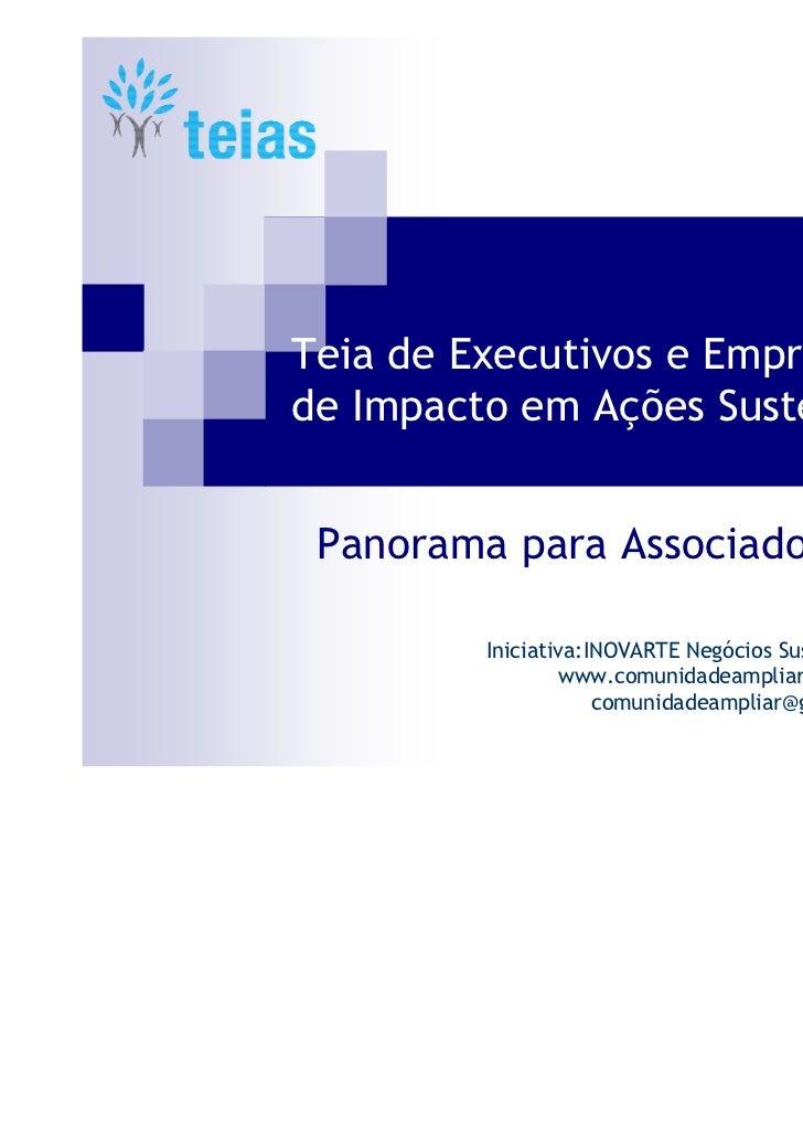 Teia de Executivos e Empreendedoresde Impacto em Ações Sustentáveis Panorama para Associados         Iniciativa:INOVARTE N...