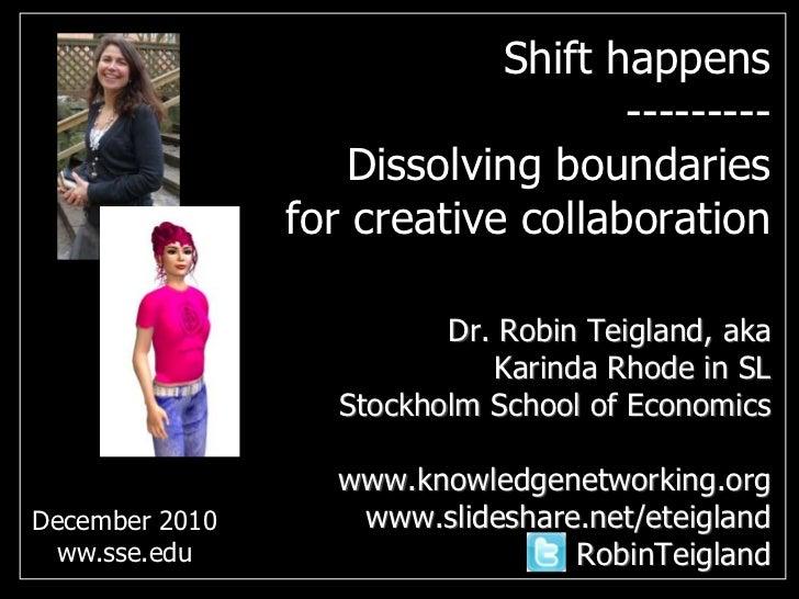Shift happens--------- Dissolving boundaries for creative collaboration<br />Dr. Robin Teigland, akaKarinda Rhode in SLSto...