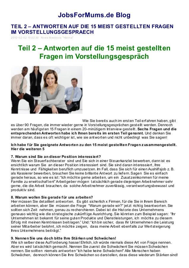 JobsForMums.de Blog TEIL 2 – ANTWORTEN AUF DIE 15 MEIST GESTELLTEN FRAGEN IM VORSTELLUNGSGESPRAECH 2010-02-02 19:02:30 Niv...