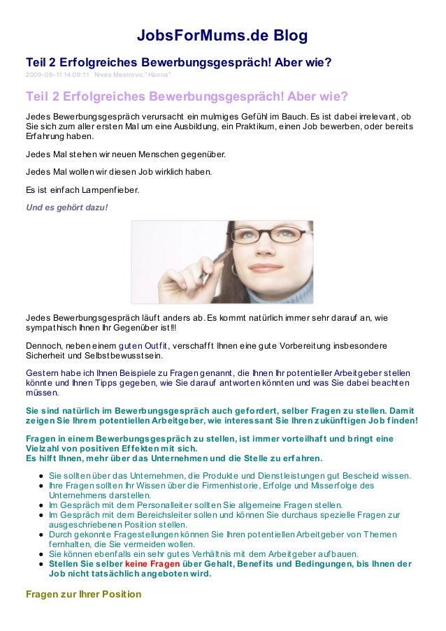 """JobsForMums.de Blog Teil 2 Erfolgreiches Bewerbungsgespräch! Aber wie? 2009-09-11 14:09:11 Nives Mestrovic """"Hanna"""" Teil 2 ..."""