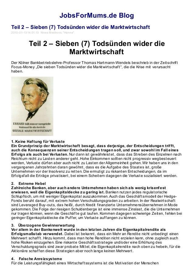 """JobsForMums.de Blog Teil 2 – Sieben (7) Todsünden wider die Marktwirtschaft 2010-01-13 14:01:13 Nives Mestrovic """"Hanna"""" Te..."""
