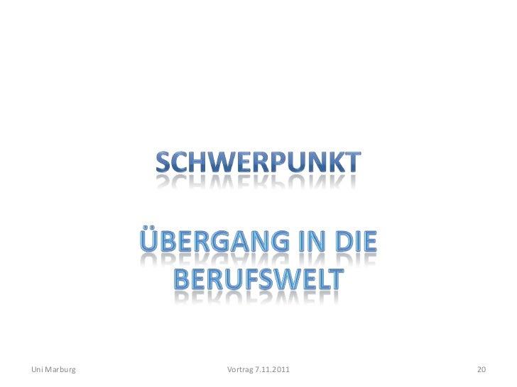 Uni Marburg   Vortrag 7.11.2011   20
