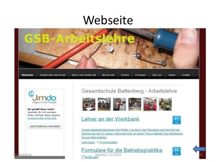 WebseiteUni Marburg    Vortrag 7.11.2011   21