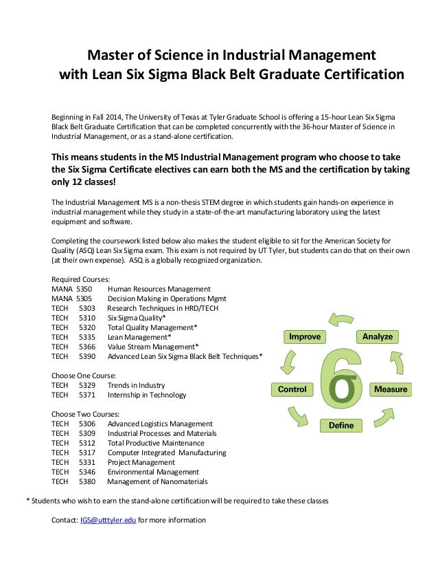 University Of Texas At Tyler Six Sigma Certification