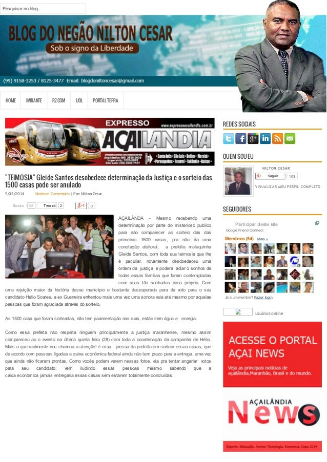 """HOME IMIRANTE R7.COM UOL PORTAL TERRA  """"TEIMOSIA"""" Gleide Santos desobedece determinação da Justiça e o sorteio das  1500 c..."""