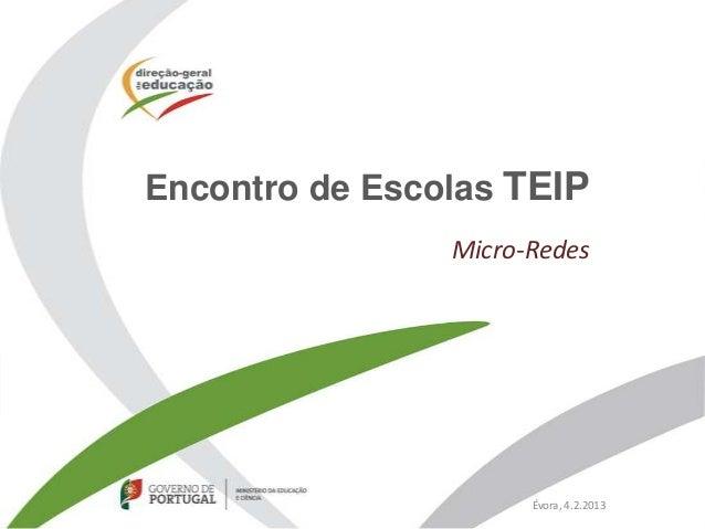 Encontro de Escolas TEIP                Micro-Redes                      Évora, 4.2.2013