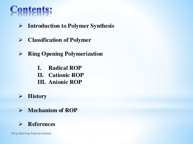 Polymer Synthesis Slide 2