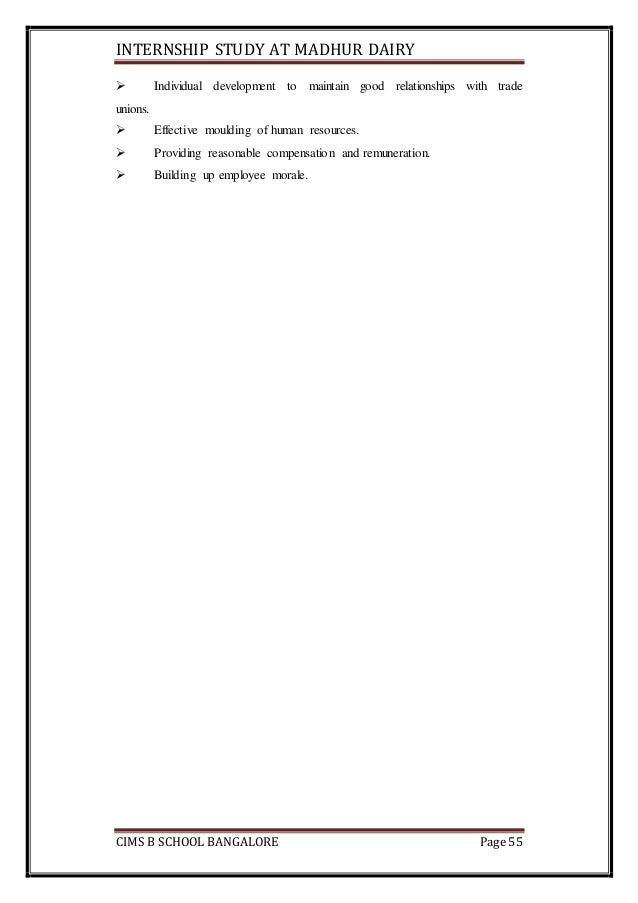 MADHUR DAIRY GANDHINAGAR . SUMMER INTERNSHIP REPORT