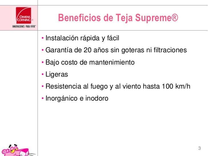Beneficios de Teja Supreme®<br />Instalación rápida y fácil<br />Garantía de 20 años sin goteras ni filtraciones<br />Bajo...