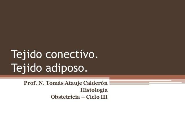 Tejido conectivo. Tejido adiposo. Prof. N. Tomás Atauje Calderón Histología Obstetricia – Ciclo III