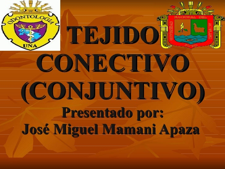 TEJIDO CONECTIVO (CONJUNTIVO) Presentado por: José Miguel Mamani Apaza