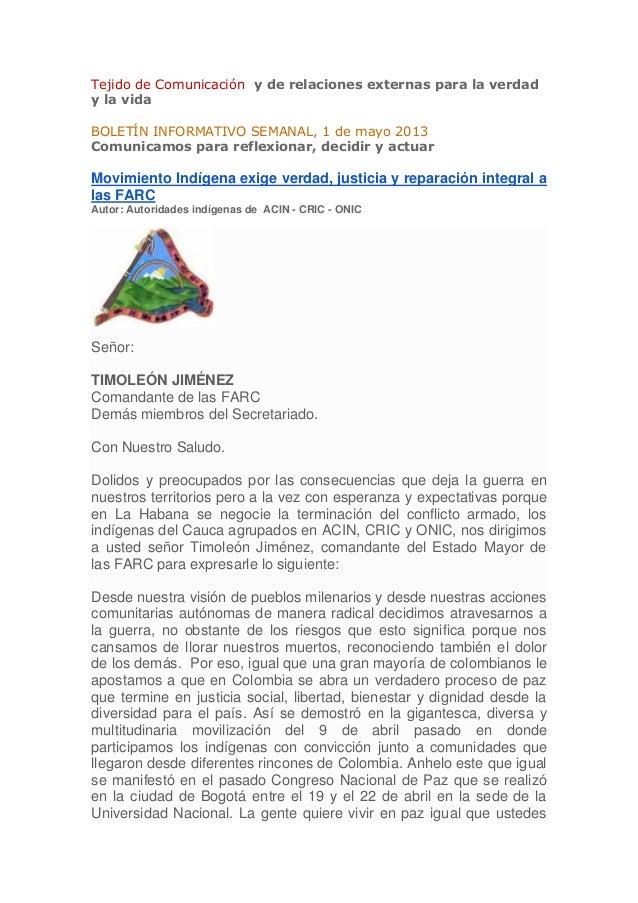 Tejido de Comunicación y de relaciones externas para la verdady la vidaBOLETÍN INFORMATIVO SEMANAL, 1 de mayo 2013Comunica...
