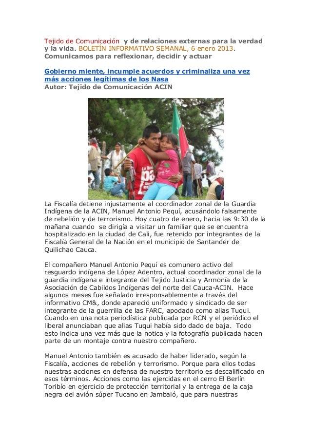 Tejido de Comunicación y de relaciones externas para la verdady la vida. BOLETÍN INFORMATIVO SEMANAL, 6 enero 2013.Comunic...
