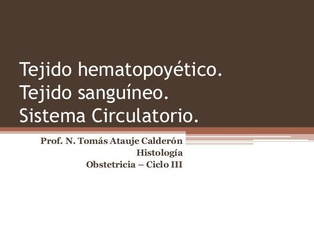 Tejido hematopoyético. Tejido sanguíneo. Sistema Circulatorio. Prof. N. Tomás Atauje Calderón Histología Obstetricia – Cic...