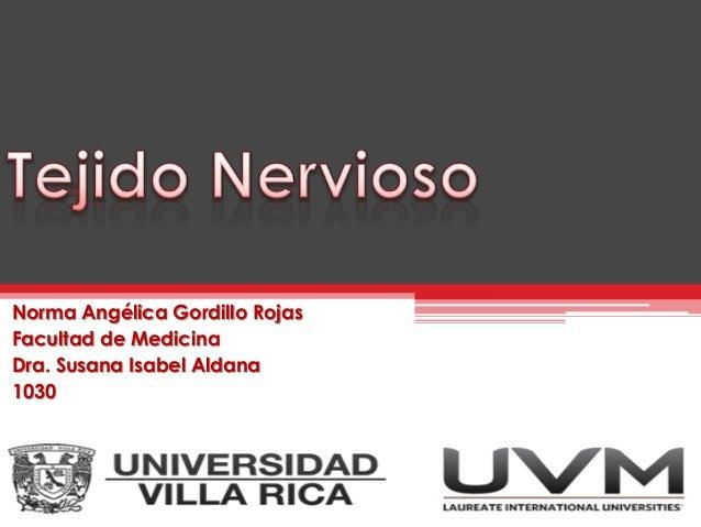 Norma Angélica Gordillo Rojas Facultad de Medicina Dra. Susana Isabel Aldana 1030