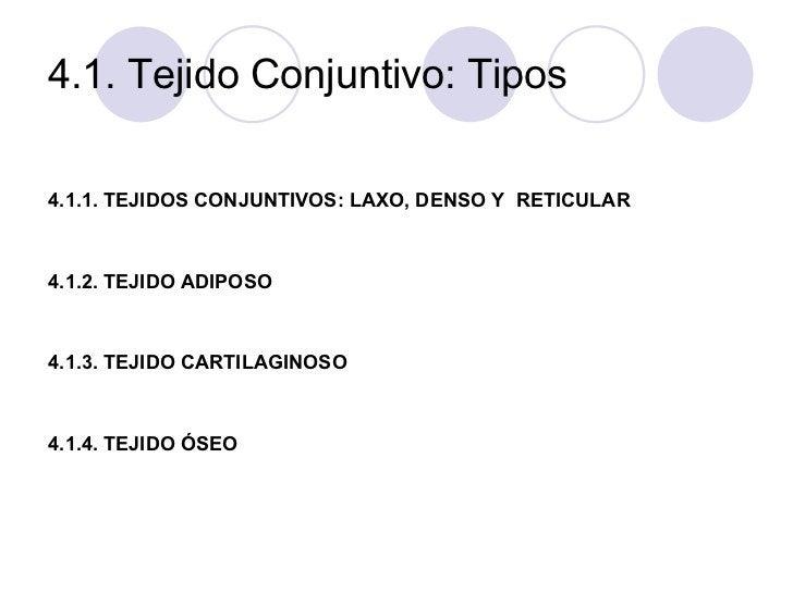 4.1. Tejido Conjuntivo: Tipos  4.1.1. TEJIDOS CONJUNTIVOS: LAXO, DENSO Y  RETICULAR 4.1.2. TEJIDO ADIPOSO 4.1.3. TEJIDO CA...