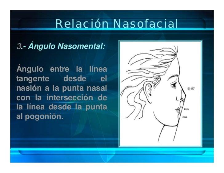 Relación Nasofacial 3.- Ángulo Nasomental:  Ángulo entre la línea tangente     desde   el nasión a la punta nasal con la i...