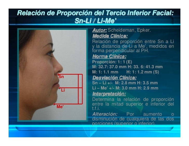 Proporción Labiomentoniana: Sti-B' / B'- Me'                       Autor: Scheideman.                       Medida Clínica...