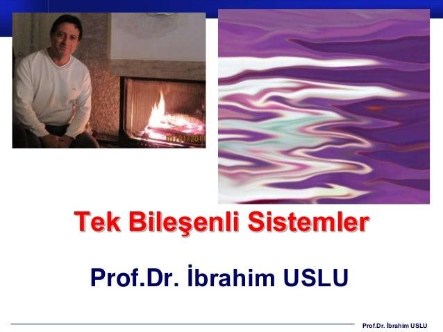 Tek Bileşenli Sistemler Prof.Dr. İbrahim USLU                         Prof.Dr. İbrahim USLU
