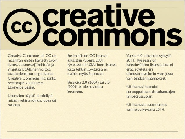 Creative Commons eli CC on maailman eniten käytetty avoin lisenssi. Lisenssejä kehittää ja ylläpitää USAlainen voittoa tav...