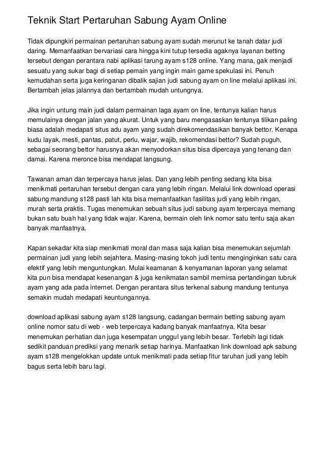 Teknik Start Pertaruhan Sabung Ayam Online Tidak dipungkiri permainan pertaruhan sabung ayam sudah merunut ke tanah datar ...