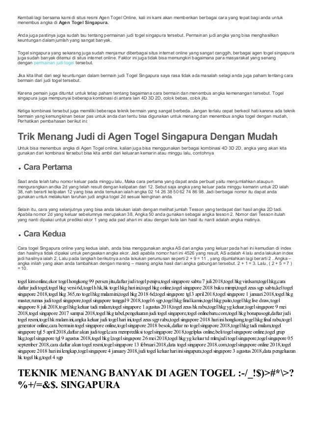Teknik Menang Banyak Di Agen Togel Singapura