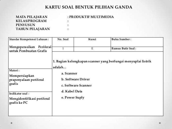 Kartu Soal Pilihan Ganda Bahasa Indonesia Sma - Guru Ilmu ...
