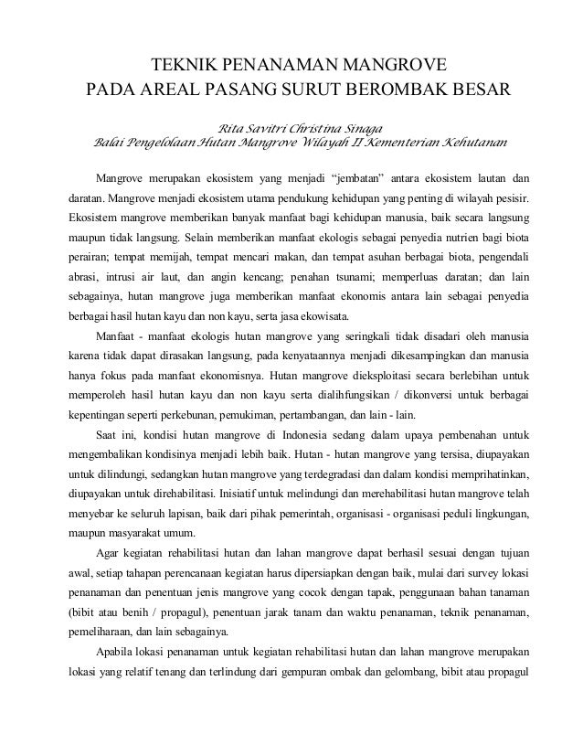 TEKNIK PENANAMAN MANGROVE   PADA AREAL PASANG SURUT BEROMBAK BESAR                         Rita Savitri Christina Sinaga  ...