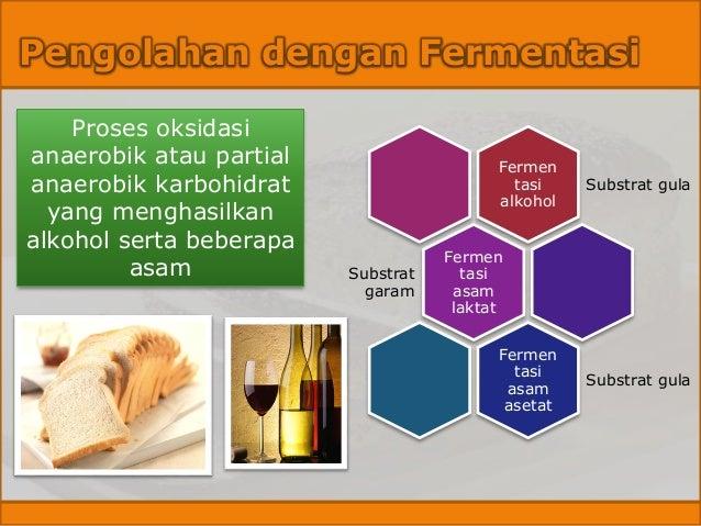 Pengolahan dengan Fermentasi Proses oksidasi anaerobik atau partial anaerobik karbohidrat yang menghasilkan alkohol serta ...