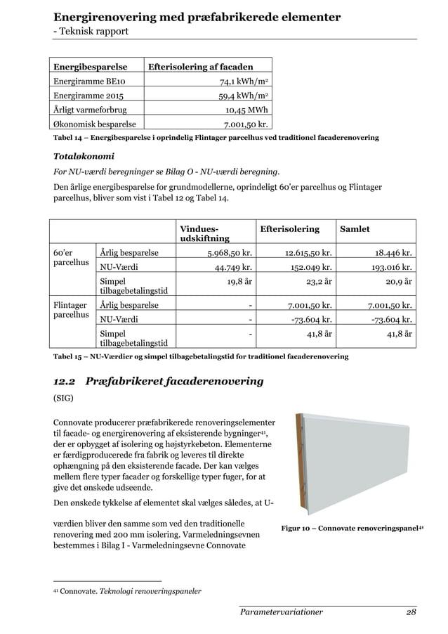 Energirenovering med præfabrikerede elementer - Teknisk rapport  Energibesparelse  Efterisolering af facaden  Energiramme ...